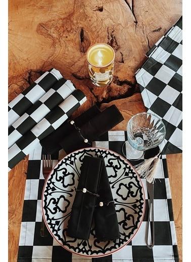 Eae Sanat 9 Parça Siyah&Beyaz Damalı Servis Takımı  Renkli